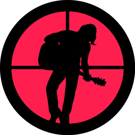 intolerance: In the scope series - Rocker (guitar player) in the crosshair of a gun�s telescope. Can be symbolic for need of protection, being tired of, intolerance or being under investigation.