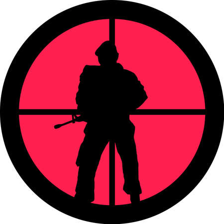 intolerance: In the scope series - Soldier in the crosshair of a gun�s telescope. Can be symbolic for need of protection, being tired of, intolerance or being under investigation.