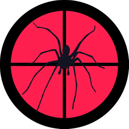 intolerance: In the scope series - Spider in the crosshair of a gun�s telescope. Can be symbolic for need of protection, being tired of, intolerance or being under investigation. Illustration