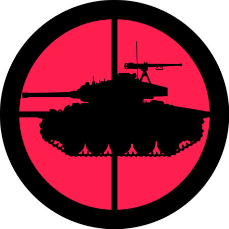 In the scope series - Tank in the crosshair of a gun�s telescope. Can be symbolic for need of protection, being tired of, intolerance or being under investigation. Stock Vector - 8763828
