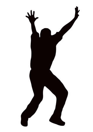 crickets: Sport Silhouette - Bowler appealling isolated black image on white background