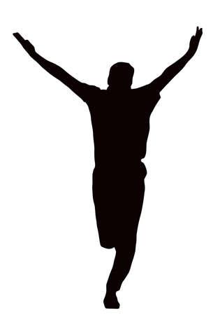 bouliste: Silhouette de sport - Bowler c�l�brant cong�diement isol� image noire sur fond blanc Illustration