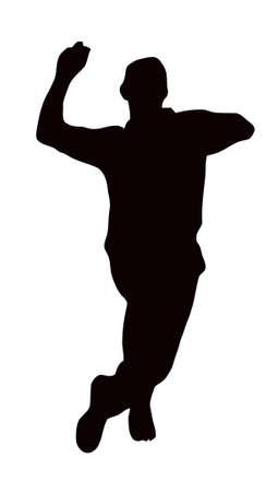 cricket: Sport Silhouette - Bowler rincorsa isolato immagine nera su sfondo bianco
