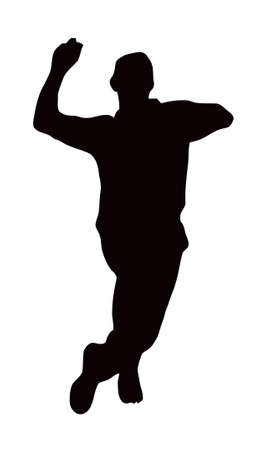 cricket sport: Sport Silhouette - Bowler run-up isolated black image on white background Illustration