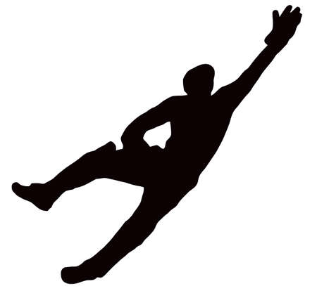 Sport Silhouette - Wicket-Keeper Dive isolated black image on white background Ilustração