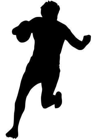 blocking: Sport Silhouette - Rugby Runner Blocking isolated black image on white background
