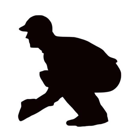cricket: Sport Silhouette - Wicket-Keeper accovacciato isolato immagine nera su sfondo bianco