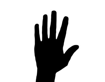 Silhouette Vector Raised Hand on White Stock Vector - 8891672