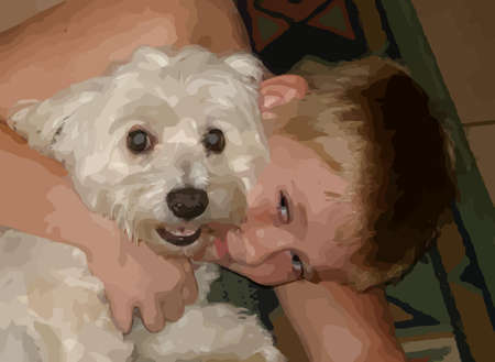 maltese dog: Boy hugging, cuddling his little pet Maltese dog