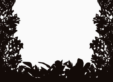 Isolated bush or jungle frame Vector