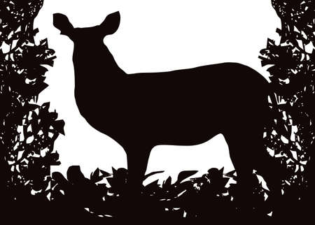 Waterbuck in Isolated bush or jungle frame  Vector