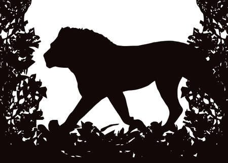Lion in Isolated bush or jungle frame  Vector