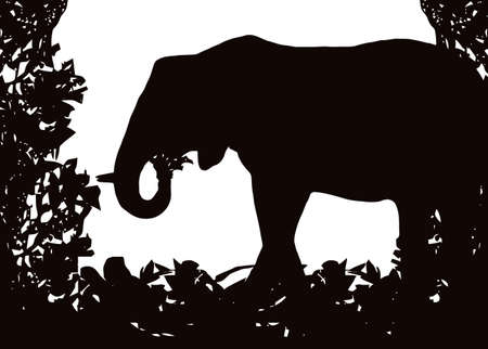 Elephant in Isolated bush or jungle frame Vector