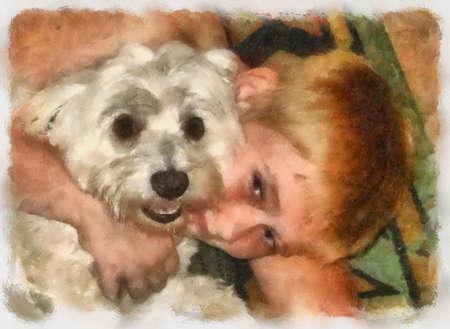 Boy hugging, cuddling his little pet Maltese dog (water paint painting) photo