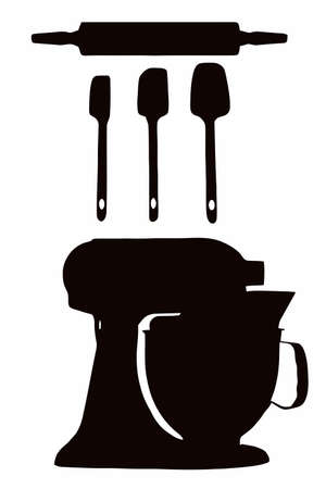 Cookware silhouette with spatula, rolling pin and cake-mixer