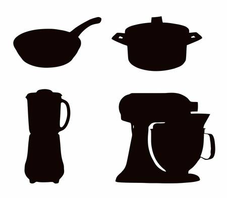 Kitchenware Silhouette - Pot, pan; liquidiser; and cake mixer Vector