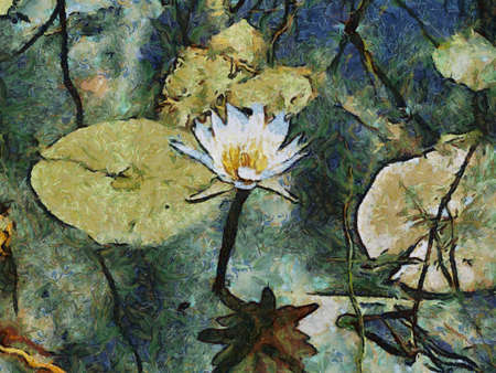 Abstract Painting of single Water Lily Flower in pond photo