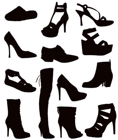 Isolated Ladies Footwear - Black on white (shoes, boots, sandals, slops, slippers)  Stock Vector - 9441990