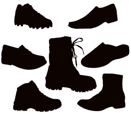 Isolated Mens Footwear - Black on white (shoes, boots, tekkies, sandals, slippers)