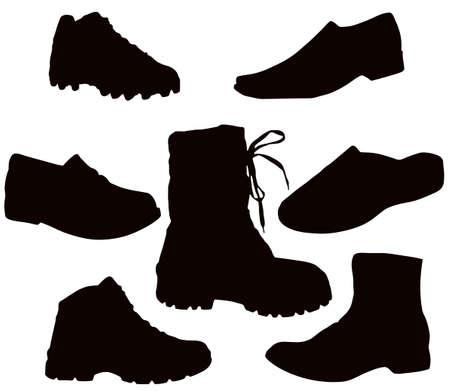 Isolato Mens calzature - nero su bianco (scarpe, stivali, tekkies, sandali, pantofole)