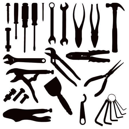 spanners: Various Isolated Tools - black on white  Illustration