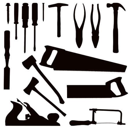 wooden work: Vari strumenti di lavorazione del legno isolato - nero su bianco  Vettoriali