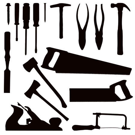 Various Isolated Woodwork Tools - black on white