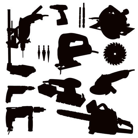 taladro electrico: Diversas herramientas de poder aislado - negro sobre blanco