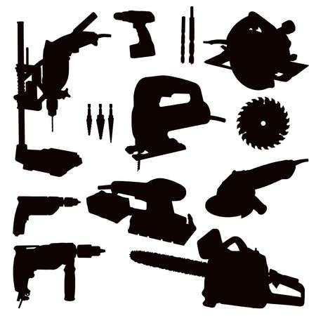 Verschillende geïsoleerde machtshulpmiddelen - zwart op wit