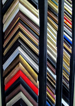 Framing frame corners display shelves with colorful choices photo