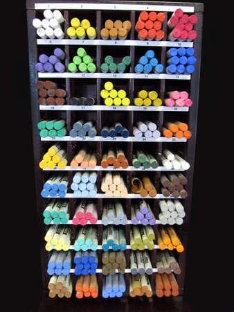 Art Studio - supplies shop - Pastel Crayon Display Shelf Stock Photo - 9559749