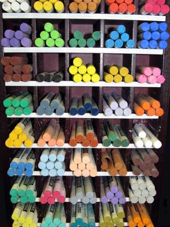 Art Studio - supplies shop - Pastel Crayon Display Shelf Stock Photo - 9559755