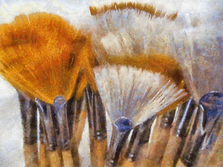 artwork: Oil Painting of Artistic Painting Brush Display Shelf with White and Orange Brushes