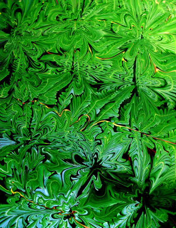 Babstract Shaped Picture of fern leaves and branch canopy  photo