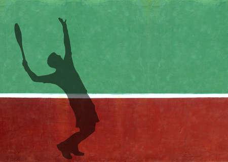 jugando tenis: Silueta de servir de jugador de tenis contra un muro de pr�ctica