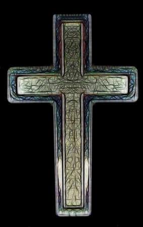 Two Layered Isolated Christian Cross Art Illustration Stock Illustration - 9698653