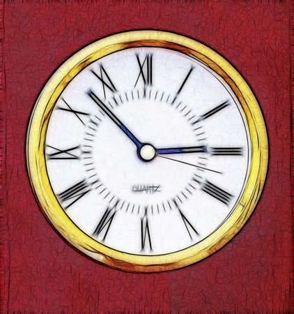 mounting:  Abstract Artistic Quarts Clock Representation on Red Mounting