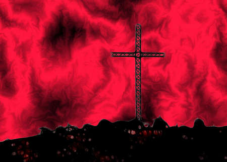 Christian Cross on Hill with Fire in the Air Art Illustration illustration