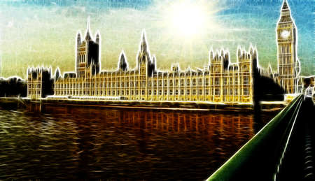 the palace of westminster: Artistic Impression of Westminster Palace in London