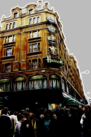 harrods: Artistic Impression Bromton Road in London with Harrods Building