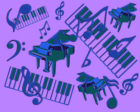 octaves: Abstract Display of Piano Musical Concert with Notes and Striking Blue and Purple