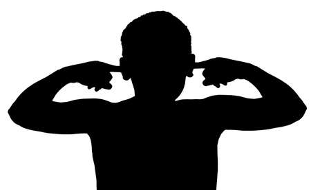 listening to people: Isolated Silhouetted Boy Child Gesture and Activity Not Listening