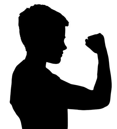 violent: Isolated Silhouetted Boy Child Gesture and Activity Showing Fist Illustration