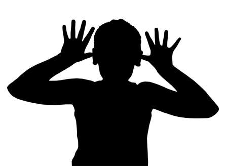 teasing: Isolated Silhouetted Boy Child Gesture and Activity Teasing
