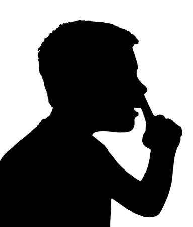 picking: Isolated Silhouetted Boy Child Gesture and Activity Picking Nose Illustration