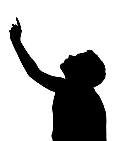 Isolated Silhouetted Boy Child Gesture and Activity Pointing Upwards