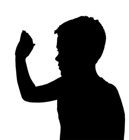 Isolated Silhouetted Boy Child Gesture and Activity High 5 Wave Stock Vector - 9779632