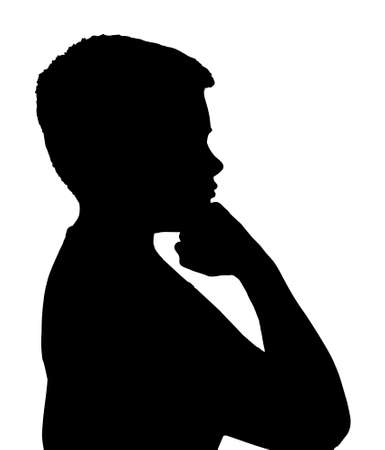 ponder: Isolated Silhouetted Boy Child Gesture and Activity Thinking