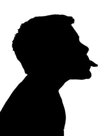 tongue out: Isolated Silhouetted Boy Child Gesture and Activity Sticking Out Tongue