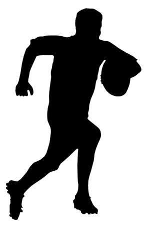 Sport Silhouette - Rugby Football Player Running with Ball Vector